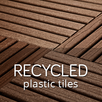 Recycled plastic outdoor tiles with wide boards