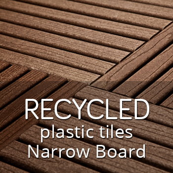 Recycled plastic outdoor tiles with narrow boards