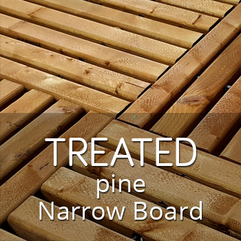 Treated pine outdoor tiles with narrow boards