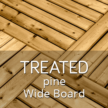 Treated pine outdoor tiles with wide boards